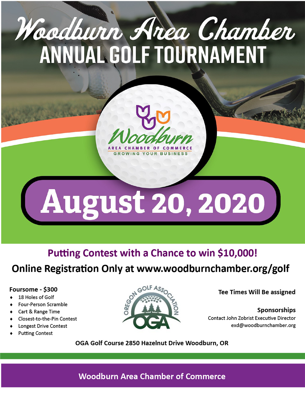August 2020 Woodburn Area Chamber Annual Golf Tournament - image of flyer