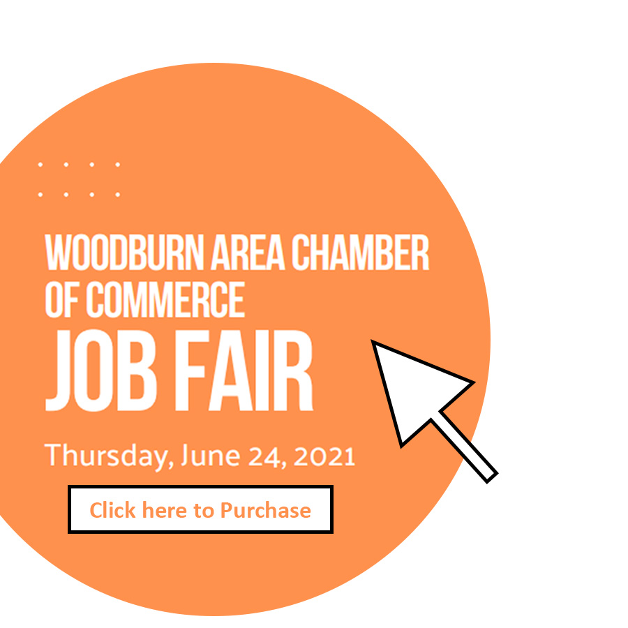orange circle on a white background with job fair text and a click to purchase button