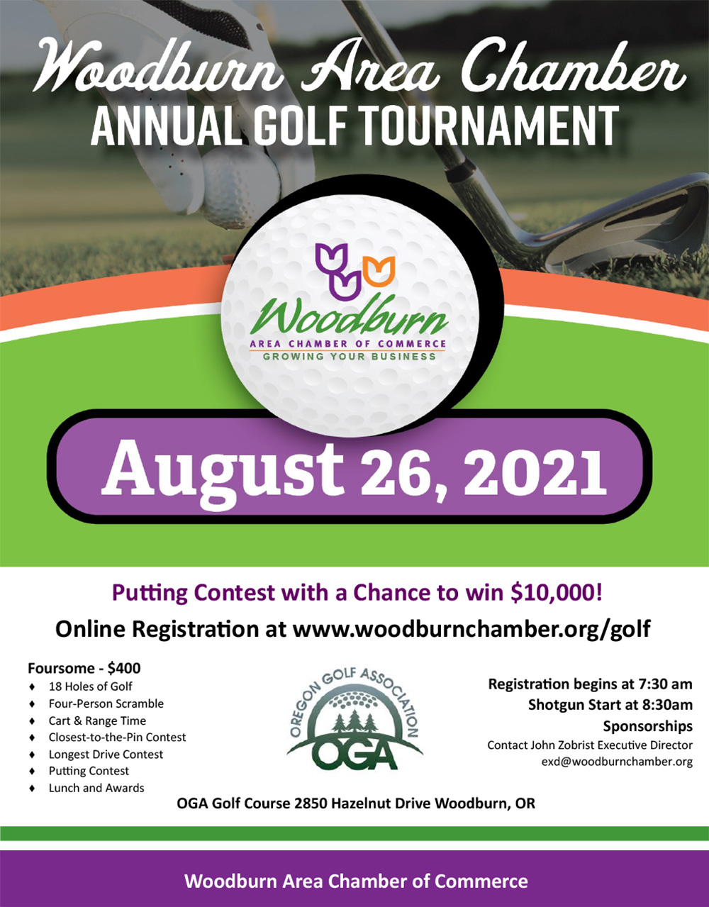 Woodburn Area Chamber of Commerce Golf Tournament 2021 Flyer