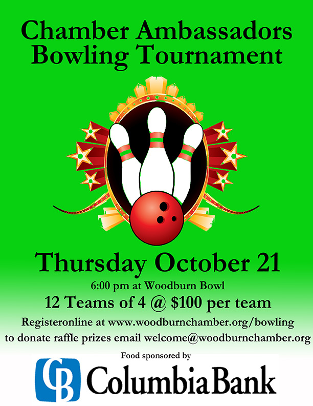 chamber ambassadors bowling tournament woodburn chamber green flyer